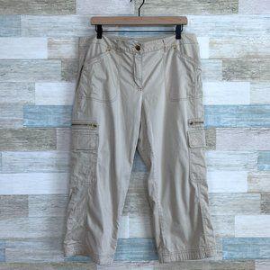 Cache Embellished Crop Pants Beige